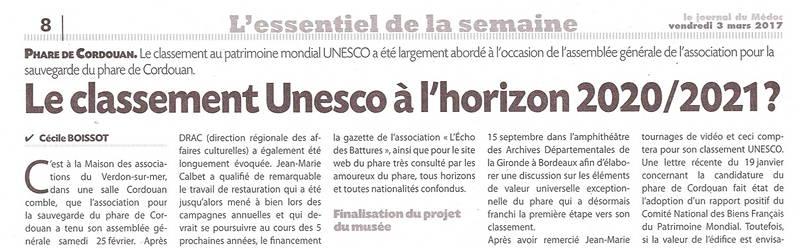 Le classement de l'Unesco à l'horizont 2020/2021 ?